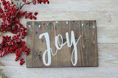 Christmas Wood Sign, Joy Christmas Sign, Rustic Christmas Sign, Farmhouse Christmas Decor, Christmas Wooden Sign, Christmas Decorations by RosaLilla on Etsy https://www.etsy.com/listing/459832900/christmas-wood-sign-joy-christmas-sign