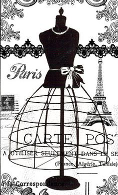 Vintage Labels Black White Paris Fashion Mannequin Postcard - A vintage black and white french dressmaker mannequin with Eiffel Tower and black lace. A vintage style design on white background. The perfect unique gift idea for her on any occasion. Paris Chic, Printable Art, Free Printables, Printable Vintage, Printable Designs, Fashion Mannequin, Images Vintage, Paris Dresses, Poster S
