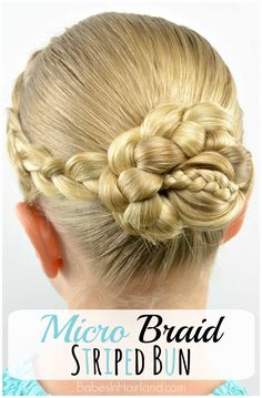 Micro Braid Striped Bun from BabesInHairland.com #bun #braids #dutchbraid