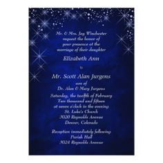 Blue Starry Night Formal Wedding Card