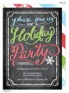 Handlettered Holiday Party Invitations