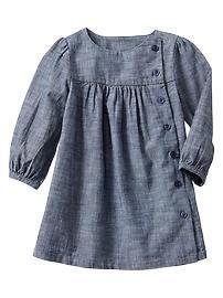 Picture only for Inspiration, Chambray dress Frocks For Girls, Little Girl Dresses, Girls Dresses, Baby Dresses, Little Girl Fashion, Kids Fashion, Dress Anak, Chambray Dress, Toddler Dress