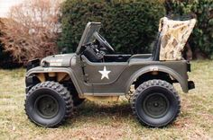 Power wheels army jeep. Looks just like the real army jeep my dad has. Aidan needs one so he'll be just like grandpa. :)