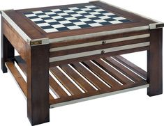 """Game Table 31.5""""W x 31.5""""D x 17.75""""H. With light honey and medium honey accents. Three interchangeable panels offer four game boards (chess, checkers, backgammon and dice). Panels also flips to faux black leather or wood."""