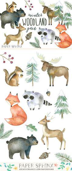 Winter Woodland Watercolor Pack by PaperSphinx on @creativemarket Baby Nursery Art, Woodland Nursery, Woodland Animals, Nursery Ideas, Woodland Art, Forest Animals, Nature Animals, Watercolor Illustration, Watercolor Paintings