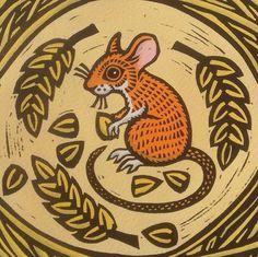 'Field Mouse' By Printmaker Gerard Hobson. Blank Art Cards By Green Pebble… Mouse Illustration, Linoprint, Animal Magic, Sgraffito, Naive Art, Animal Pillows, Wildlife Art, Linocut Prints, Making Ideas