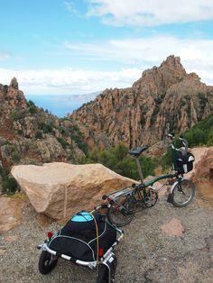 Calllanches des Piana, Corsica - highlight of the 2013 Tour de France. Brompton was more than up to the job. Vespa, Bicicleta Brompton, Bike Friday, Powered Bicycle, Push Bikes, Touring Bike, Bicycle Art, Hot Bikes, Backpacking