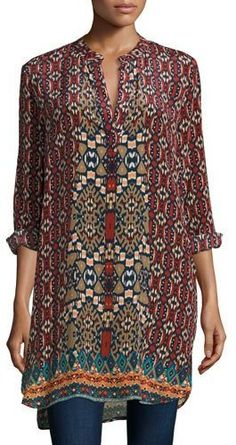 Tolani Skyler Vibrant Printed Tunic, Crimson