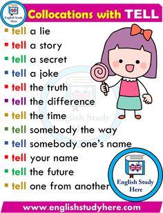 English Collocations with TELL English Phonics, Teaching English Grammar, English Writing Skills, Kids English, English Vocabulary Words, Learn English Words, English Phrases, English Idioms, English Language Learning