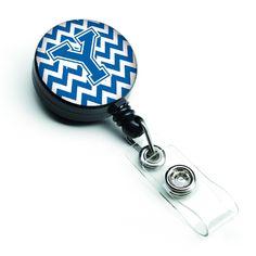 Letter Y Chevron Blue and White Retractable Badge Reel CJ1056-YBR
