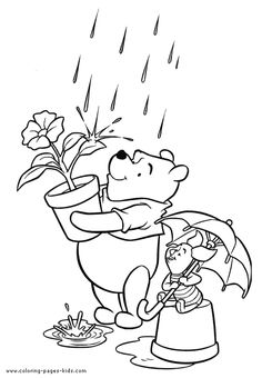 Winnie and Piglet, Winnie the Pooh color page, disney coloring pages, color plate, coloring sheet,printable coloring picture