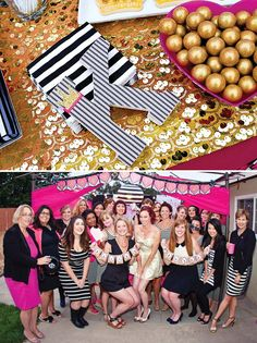pink gold and black glam favorite things adult birthday party