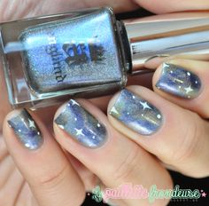 A England Dancing with Nureyev galaxy nails #nail #nailart http://lapaillettefrondeuse.blogspot.be