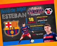 Digital invitation for FC Barcelona Soccer Messi Birthday. Messi Birthday, Soccer Birthday Parties, Soccer Party, 10th Birthday, Fc Barcelona, Barcelona Party, Barcelona Soccer, Kids Birthday Party Invitations, Digital Invitations