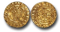 When the Italian gold coins by the name of Florins grew in popularity, the English decided to mint gold coins of their own. This is a English Medieval Quarter Noble from the reign of Edward III. A quarter noble was worth 20 English pennies or 4 Groats.