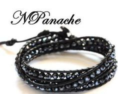 Black bead Leather Bracelet