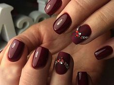 Monophonic manicure: 80 photos with trendy design Great Nails, Cute Nails, Cherry Nail Art, Navy Nails, Nail Techniques, Brittle Nails, Fall Nail Colors, Square Nails, Stylish Nails