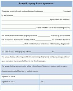 Print Out Lease Agreement | our Rental Agreement Application ...