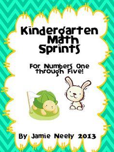 Kindergarten Math Sprints Numbers 1-5