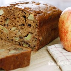 Applesauce Nut Bread - Moist cinnamon apple bread made with applesauce, small chunks of fresh apples and walnuts. It's so moist and delicious, you won't believe it's low fat! Baking With Applesauce, Applesauce Bread, Homemade Applesauce, Apple Bread, Apple Nut Bread Recipe, Oatmeal Bread, Apple Recipes, Bread Recipes, Breakfast Recipes