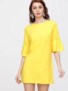 Yellow 3/4 Sleeve Flounce Cuff Round Neck Tunic Dress