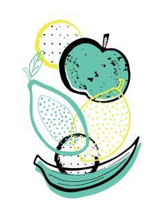 art prints - Fruity Delight by Joanne Williams Vegetable Illustration, Fruit Illustration, Pattern Illustration, Food Illustrations, Fruit Pattern, Grafik Design, Surface Pattern Design, Food Art, Art Drawings