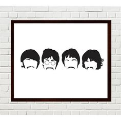 Beatles Art, Sgt Pepper Print, Beatles Print, Beatles Silhouettes, The... (12 AUD) ❤ liked on Polyvore featuring home, home decor, wall art, minimalist wall art, minimal home decor, silhouette wall art and minimalist home decor