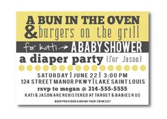 Printable Couples Baby Shower invitations, BBQ baby shower invites, gender neutral baby shower