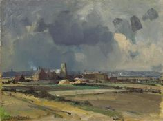 Edward Seago Norfolk - Waxham Church Oil on board - Portland Gallery, London