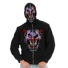 Evil Clown Full Zip Hoodie Costume includes skull hoodie, full zip hoodie with see-thru face mask Baggy Hoodie, Black Hoodie, Evil Clown Costume, Movie Character Costumes, Mens Sweatshirts, Hoodies, Trendy Halloween, Halloween 2018, Skull Hoodie
