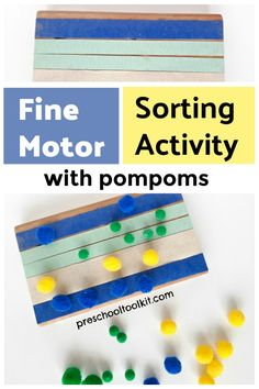 A color sorting activity with pompoms supports early math skills. This simple activity engages fine motor and sensory skills as preschoolers count and sort the pompoms. Sorting Activities, Time Activities, Motor Activities, Early Math, Early Learning, Kids Learning, Sensory Bottles, Sensory Bins, Sensory Play Recipes