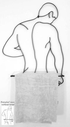 Male Figure Towel Holder - Linear Steel Sculpture by Artistic Alchemy. This contemporary metal towel holder of a male as seen from the back, adds some. Wire Crafts, Metal Crafts, Art Deco Bathroom, Bathroom Ideas, Metal Art Projects, Laser Art, Steel Art, Steel Sculpture, Iron Art