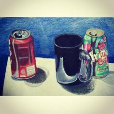 #artwork #drawing #stilllife #cocacola #arizona #icedtea #mixedmedia #coloredpencil #ink #design #inkwork #paint #acrylic #fineart #painting #coffee #mug #blue #realism #reflection