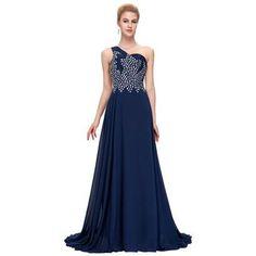 Light Blue Navy Blue Bridesmaids Maxi Dress LAVELIQ