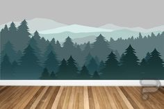 Mountain Wall Decal / Mountain Wall Mural / Woodland Wall Mural / Forest Wall Mural / Pine Tree Wall Decal / Peel and Stick Mural Mountain Mural, Mountain Nursery, Forest Nursery, Woodland Nursery, Forest Mountain, Foggy Forest, Nursery Wall Murals, Tree Wall Murals, Painted Wall Murals