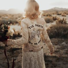 """Denim jacket for wedding day - wedding day accessory for bride - GypstitchEmbroidery """"til death do us part"""" embroidered denim jacket, from $285, Etsy - See more bridal jackets on WeddingWire! The Knot, Hailey Baldwin, Kim Kardashian, Custom Leather Jackets, Bridal Hat, Wedding Gifts For Bridesmaids, Wedding Dresses, Embroidered Denim Jacket, Wedding Jacket"""