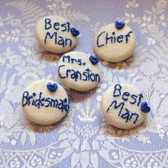 5 Personalised Bridal Bouquet and Favours Buttons Set