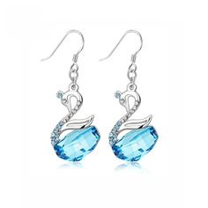 Swan Crystal Silver Earrings Fashion Classic Jewelry Gift