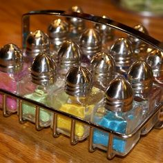 Crafts:  #Crafts ~ Use Salt Shakers to Organize Glitter. Do you use a lot of glitter in your crafting? Store your glitter or colored sand in salt and pepper shakers.