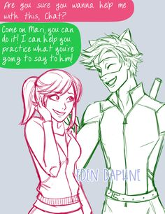 I cheated and combined days 11 (aged up Marinette) and day 14 (aged up Chat Noir) for Marichat May. Chat is helping Marinette work up the courage to confess to her mystery crush. ;3 I used @hchano's and @australet789's adult Chat designs here and...