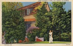 Janet Gaynor at Home, Hollywood, California 8531 Santa Monica Blvd West Hollywood, CA 90069 - Call or stop by anytime. UPDATE: Now ANYONE can call our Drug and Drama Helpline Free at Hollywood Homes, Old Hollywood Stars, Golden Age Of Hollywood, Vintage Hollywood, Classic Hollywood, West Hollywood, Old Movie Stars, Classic Movie Stars, California Dreamin'