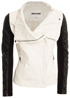 Black and white Moto jacket