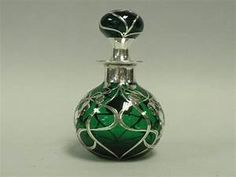 Large Green Glass And Sterling Overlay Perfume Bottle ...