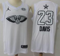 cc931f2c6 Men 2018 All Star 23 Anthony Davis Jersey White New Orleans Pelicans