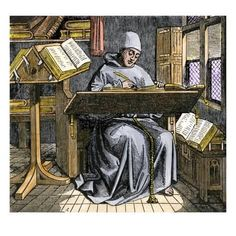 inch Photo Puzzle with 252 pieces. (other products available) - Medieval scribe writing at a desk, surrounded by open manuscripts.<br>Hand-colored woodcut of a illustration - Image supplied by North Wind Picture Archives - Jigsaw Puzzle made in the USA Medieval Manuscript, Medieval Art, Illuminated Manuscript, Fine Art Prints, Canvas Prints, Framed Prints, Writing Art, Writing Table, Hand Writing