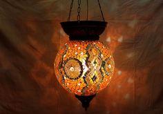 Orange mosaic hanging lamp glass chandelier light lampen handmade candle M 036 #Handmade #Moroccan