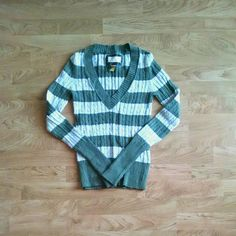 Green And Grey Striped Sweater Green And Greg Striped Sweater - Never Worn NO TRADES - NO PAYPAL American Eagle Outfitters Sweaters