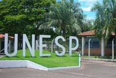 Letreiro da entrada do campus da Faculdade de Odontologia de Araçatuba - Unesp