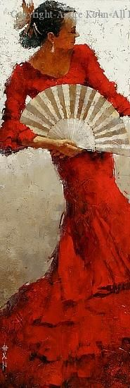 Fire Within - Oil by Andre Kohn [I could imagine an entire décor (Spanish modern) done from inspiration of this painting. Flamenco Dancers, Beautiful Paintings, Art World, Illustrations, Lovers Art, Painting Inspiration, Creative Art, Lady In Red, Silhouette