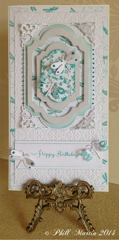 21cm x 15cm card, made by me, using Sentimentally Yours Dragonfly Montage Stamps, Sentimentally Yours Dragonfly Retreat Background Stamp and Sentimentally Yours Scribbled Sentiments Stamps :-) www.phillmartin.blogspot.com